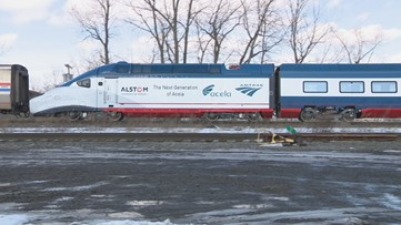 Amtrak's new high speed train, Acela, makes a stop in Buffalo
