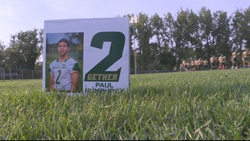 Timon Tigers play for Paul Humphrey, a football player who was shot and killed over the summer
