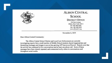 Albion Middle School investigating threatening messages