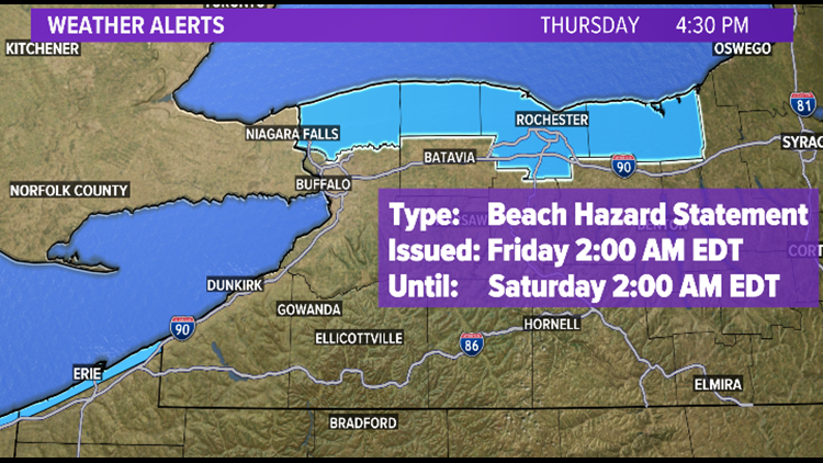 Beach Hazard Statement issued for Niagara and Orleans counties Friday