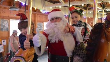 Santa rides the Carrousel