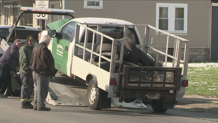 No injuries after car crashes into porch on Bailey Ave