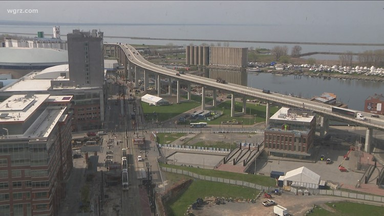 A closer look: Aerial view of where a new road to replace the Buffalo Skyway might go
