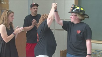 Teen firefighter gets wish granted, then rings cancer victory bell