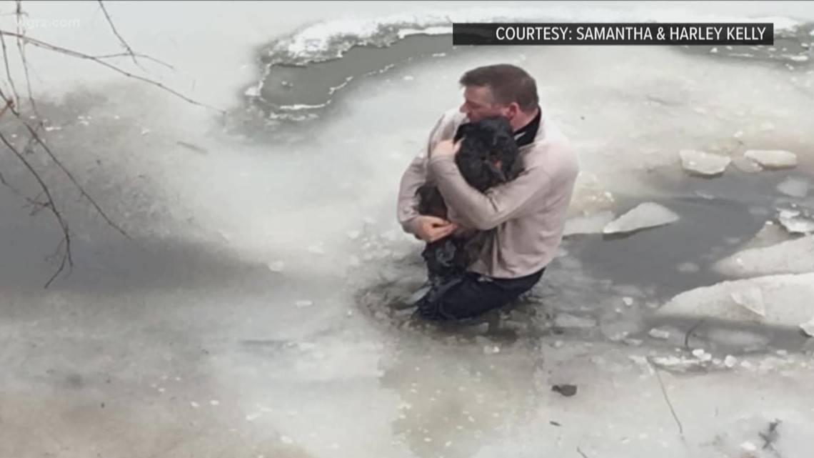 Niagara Falls man rescues dog from icy waters of Ellicott Creek
