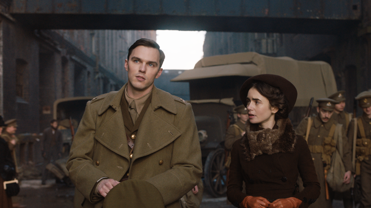 Nicholas Hoult and Lily Collins in the film TOLKIEN.