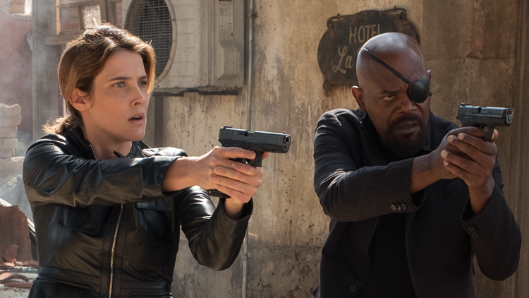 Samuel L. Jackson and Cobie Smulders in Columbia Pictures' SPIDER-MAN: ™ FAR FROM HOME.