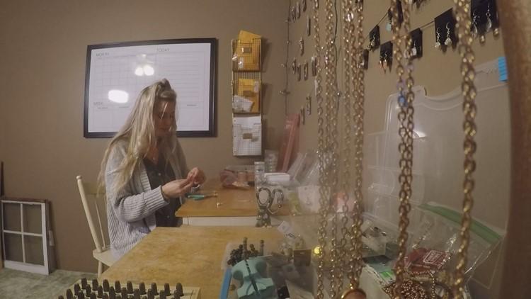Miranda working in her studio