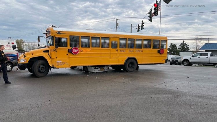 Crash involving school bus closes part of Transit Road Thursday morning