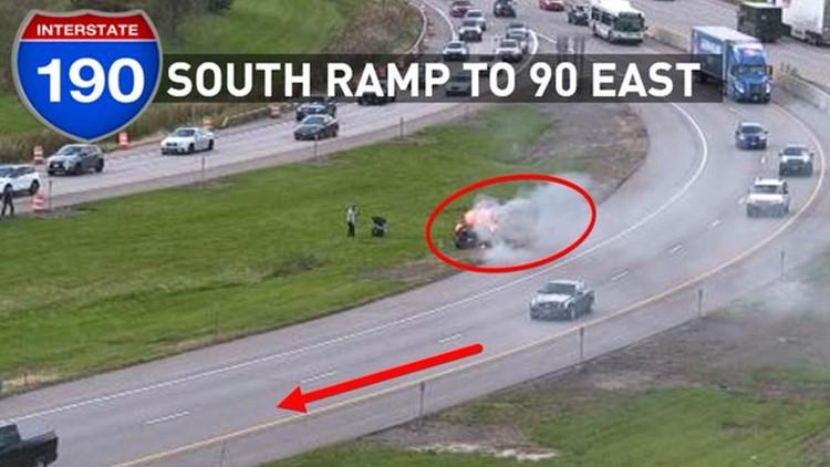 Vehicle on fire on I-190 South