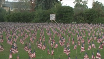 9/11 Flags On Display Outside Red Cross