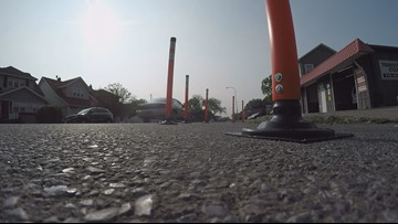 Temporary bump-outs installed on Abbott Road