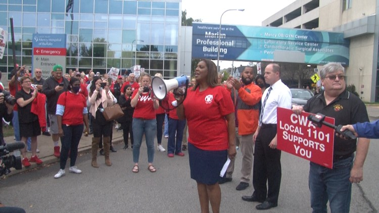 Letitia James visits Buffalo, pickets with CWA workers announces opioid settlement funds