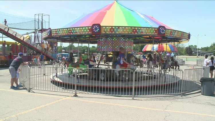Dad rides for free at Hammerl Amusements carnival