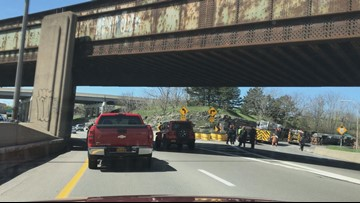 Tanker truck rolls over on 33W ramp to 198W