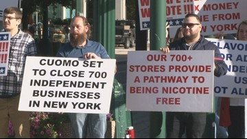 Vape shop owners protest ban by Governor Cuomo