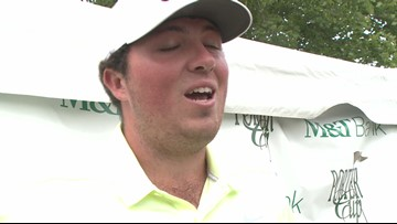 Chris Walsh reacts to winning the Porter Cup golf tournament.