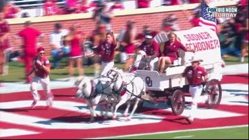 Watch: University of Oklahoma's 'Sooner Schooner' flips over during touchdown celebration