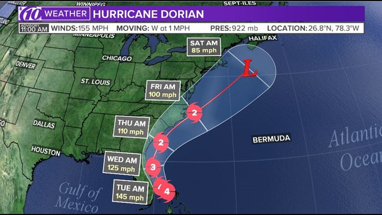 Dorian track 11 am