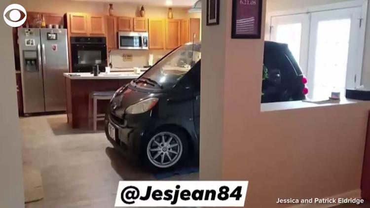 Florida man parks Smart car in kitchen so it won't blow away during Hurricane Dorian