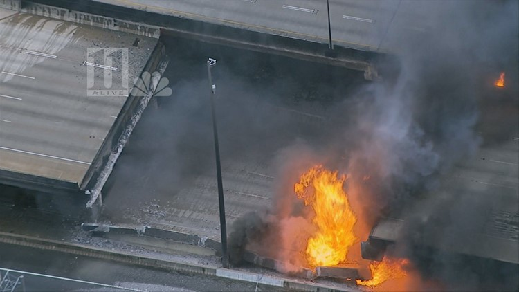 RAW VIDEO: Interstate 85 collapses in massive fire